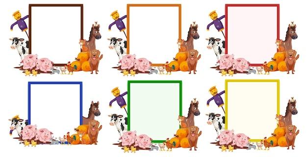 Zestaw pustego transparentu w innym kolorze z izolowanymi zwierzętami gospodarskimi