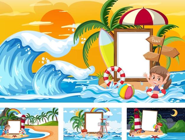 Zestaw pustego transparentu w różnych scenach tropikalnej plaży