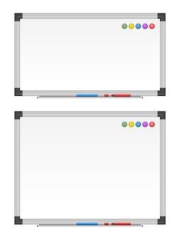 Zestaw pustej białej tablicy