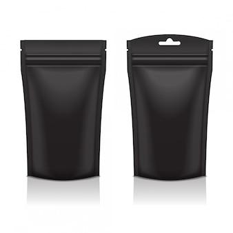 Zestaw pustej czarnej foliowej torebki na żywność lub kosmetyczne opakowanie woreczka na saszetkę z zamkiem błyskawicznym. temlate