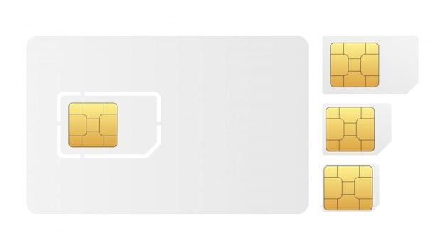 Zestaw pustej karty sim. ilustracja na białym tle