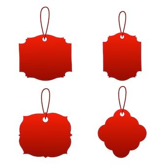 Zestaw Pustej Metki Z Ceną, Przyklejonych Przypomnień Papierowych Z Cieniami Premium Wektorów