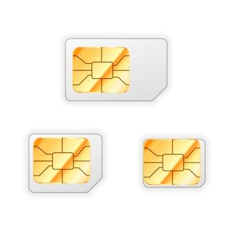 Zestaw pustej standardowej, mikro i nano karty sim do telefonu ze złotym błyszczącym chipem na białym tle