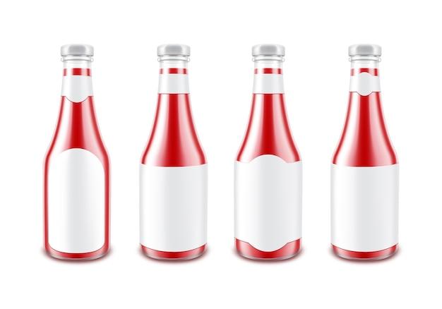 Zestaw pustej szklanej błyszczącej butelki ketchupu czerwony błyszczący pomidor do marki bez z białą etykietą na białym tle