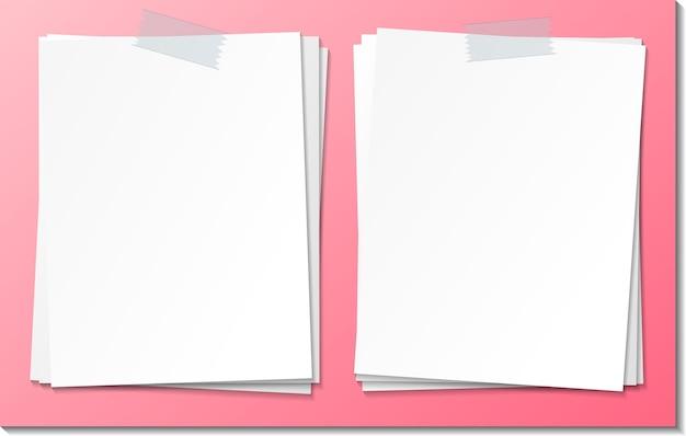 Zestaw pusty szablon papieru karteczkę