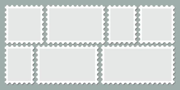 Zestaw pusty wektor ramki stempla. różne uzębione ramki puste znak pocztowy. pakiet kolekcji czystej naklejki pocztowej z miejscem na kopię.