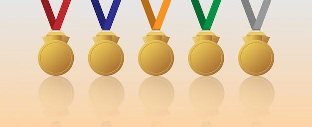 Zestaw pusty złoty medal z wielobarwnymi wstążkami
