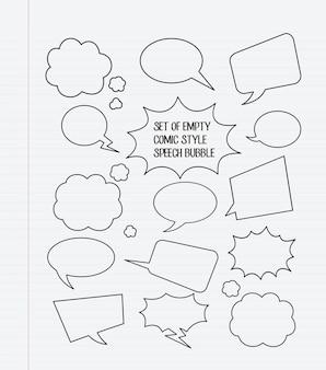 Zestaw pustych bąbelków mowy w stylu komiksu