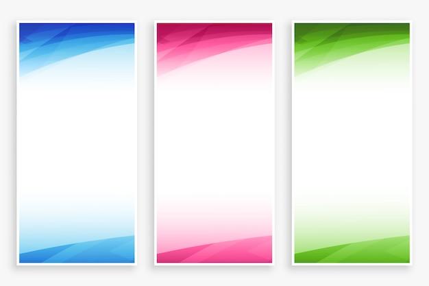 Zestaw pustych banerów z abstrakcyjnych kształtów kolorów
