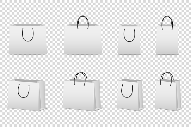 Zestaw pustych białych toreb papierowych. szablon dla. .