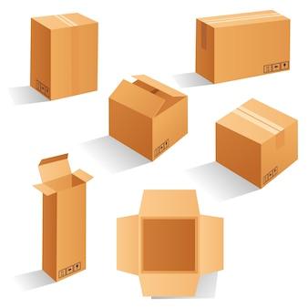 Zestaw pustych brązowych kartonów. może być stosowany w medycynie, żywności, kosmetykach i innych. realistyczna ilustracja