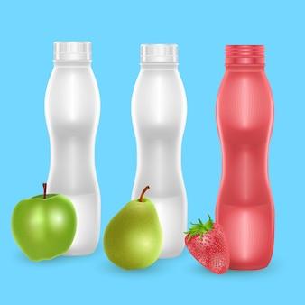 Zestaw pustych butelek na mleko lub jogurt pitny o różnych owocowych smakach