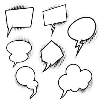 Zestaw pustych dymków w stylu komiksu pop-artu. element plakatu, karty, banera, ulotki. ilustracja