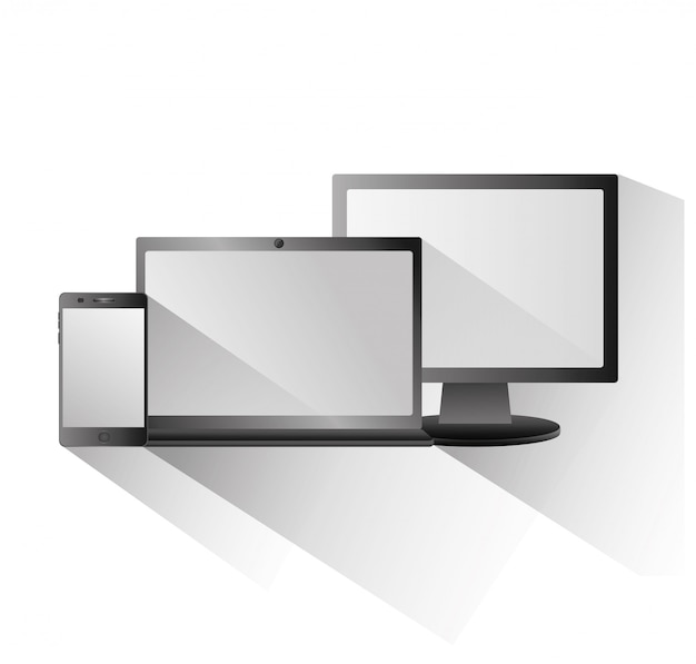 Zestaw pustych ekranów monitor komputerowy laptop smartphone technologia cyfrowa