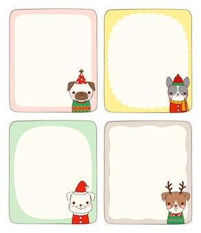 Zestaw pustych kart wiadomości ze zwierzętami w stroju zimowym
