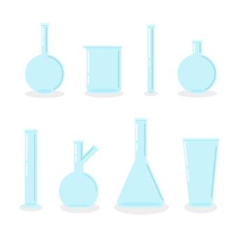 Zestaw pustych kolb laboratoryjnych chemicznych szklanych probówek płaski