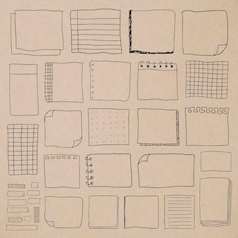 Zestaw pustych notatek papierowych z przypomnieniem