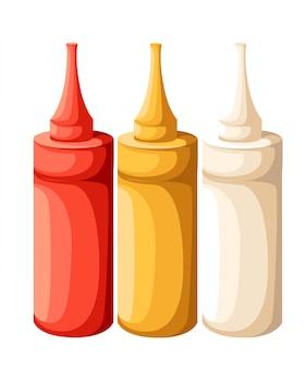 Zestaw pustych plastikowych butelek ketchupu musztardowego z białym czerwonym żółtym majonezem do brandingu bez etykiety na stronie internetowej w tle i aplikacji mobilnej