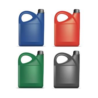Zestaw pustych plastikowych kanistrów jerrycan gallon oil cleanser detergent abstergent na białym tle