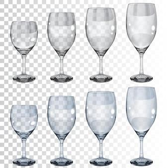 Zestaw pustych przezroczystych szklanych kielichów o różnych rozmiarach do wina.
