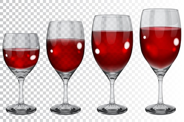 Zestaw pustych przezroczystych szklanych kielichów o różnych rozmiarach z czerwonym winem