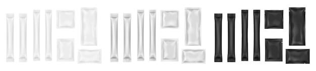 Zestaw pustych saszetek. biały i czarny szablon opakowania produktu spożywczego lub kosmetycznego. zestaw patyczków i kwadratowych opakowań medycznych lub pojemników na sosy. 3d realistyczne ilustracji wektorowych