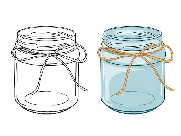 Zestaw pustych słoików. kolorowe i czarne. ręcznie rysowane obiekty. doodle styl. na białym tle.