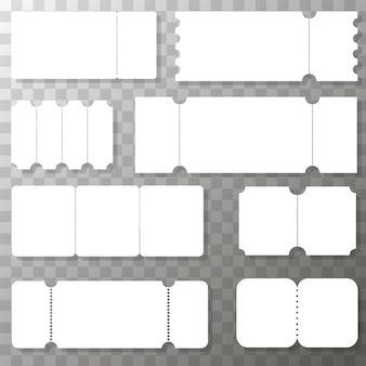 Zestaw pustych szablonów biletów. realistyczny biały bilet. kupon realistyczne sprzedaż biletów