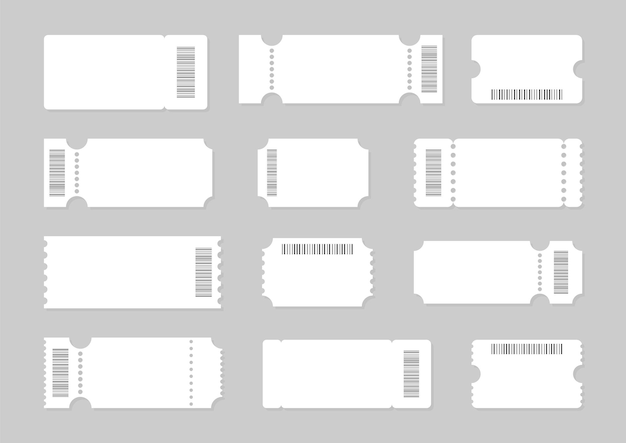 Zestaw pustych szablonów biletów z kodami kreskowymi, kuponami i voucherami.