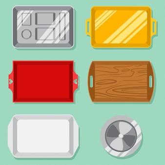 Zestaw pustych tacek na żywność: plastik, drewniany, złoty, srebrny, klosz