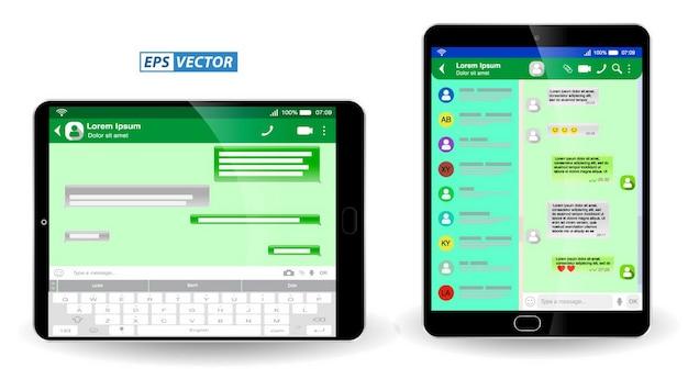 Zestaw pustych wiadomości szablonowych lub zielonych wiadomości na czacie lub wiadomości z sieci społecznościowych