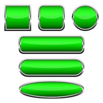 Zestaw pustych zielonych błyszczących przycisków