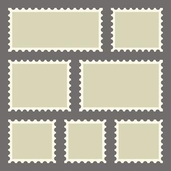 Zestaw pustych znaczków pocztowych o różnych rozmiarach. ilustracja