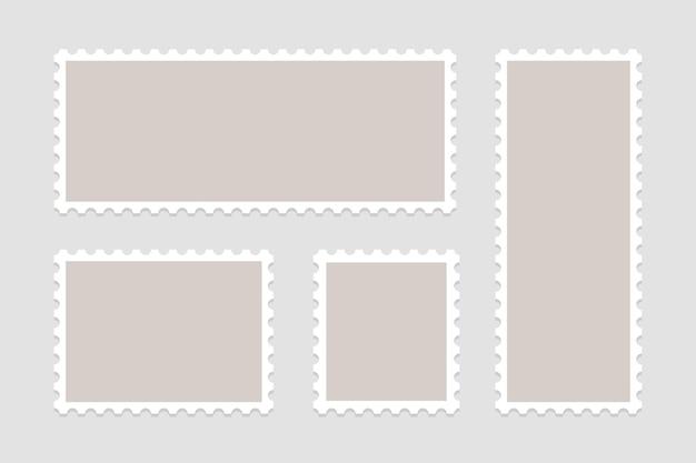 Zestaw pustych znaczków pocztowych. ramki znaczków pocztowych.