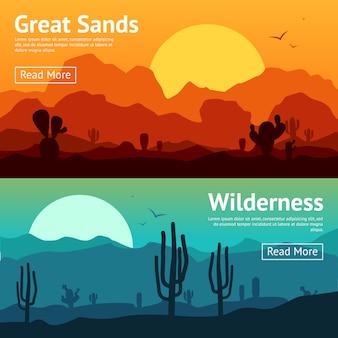 Zestaw pustynnych banerów