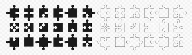 Zestaw puzzli w różnych rozmiarach. układanki wektor zestaw. oddziel zdolność do zmiany