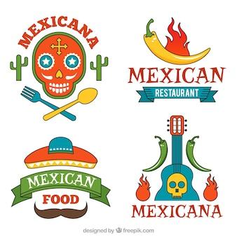 Zestaw pyszne meksykański logo żywności