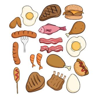 Zestaw pyszne mięso z kolorowym stylu doodle na białym tle