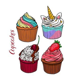 Zestaw pyszne słodkie babeczki. ręcznie rysowane ilustracji