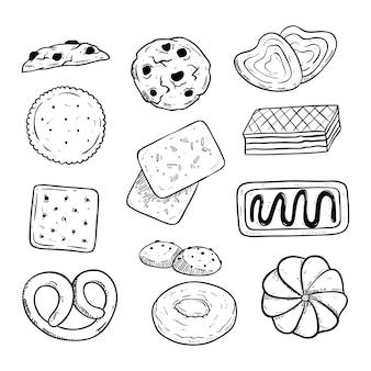 Zestaw pysznych ciastek z ręcznie rysowane lub styl szkic