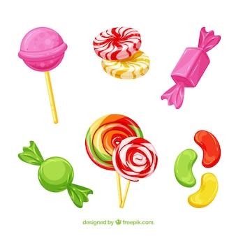 Zestaw pysznych cukierków w stylu płaski