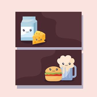 Zestaw pysznych hamburgerów i fast foodów kawaii