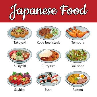 Zestaw pysznych i znanych potraw z japonii