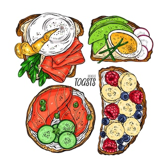 Zestaw pysznych tostów śniadaniowych z różnymi składnikami.