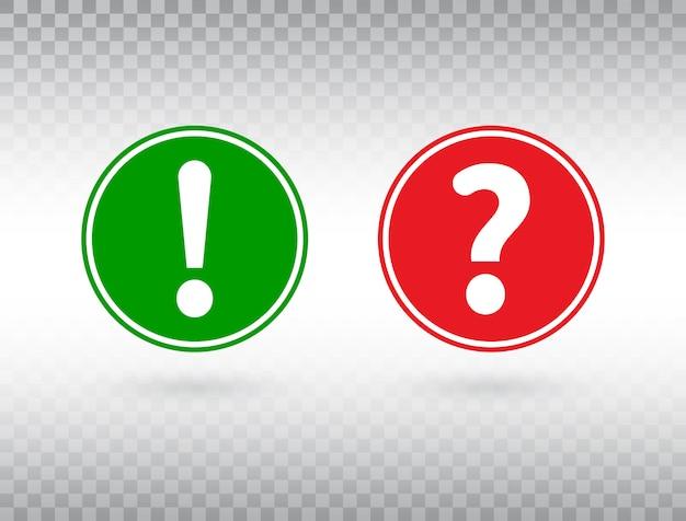 Zestaw pytań i wykrzykników. pomoc znak i symbol ostrzegawczy. czerwone i zielone kółko z przyciskiem uwagi i znakiem zapytania.