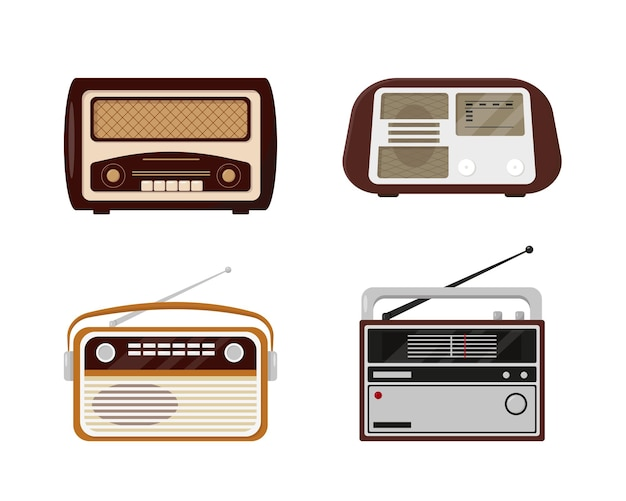 Zestaw radia retro. kolekcja vintage radio na białym tle.