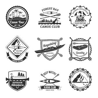 Zestaw rafting kajakarstwo i kajak emblematy