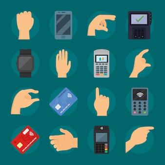 Zestaw rąk i urządzeń do płatności zbliżeniowych
