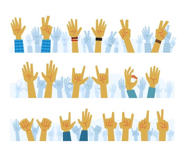 Zestaw rąk kreskówek w powietrzu