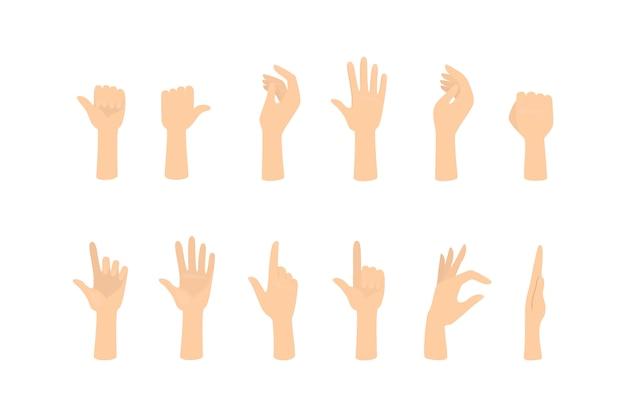 Zestaw rąk pokazujących różne gesty. dłoń wskazująca na coś. ilustracja